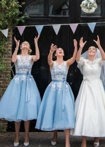 Sheer Lace Bodice Blue Bridesmaid Gown Tea-Length