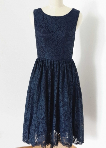 Short Lace Navy Blue Bridesmaid Dresses Sleeveless