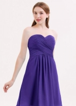 Sweetheart Chiffon Purple Bridesmaid Gown Backless Short Party Dress