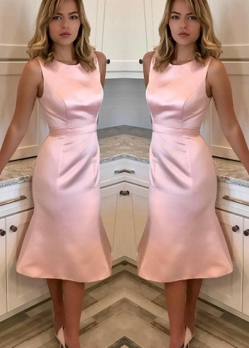 Slim Fit Sleeveless Satin Pink Bridesmaid Dress Tea-length