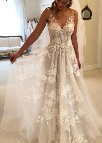 Sheer V-neckline A-line Floral Lace Dresses Wedding
