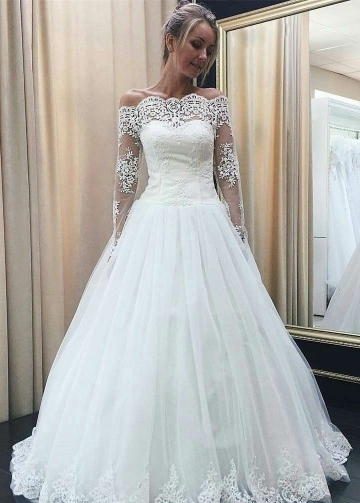 Sheer Lace Long Sleeves Wedding Dresses with Buttons Back