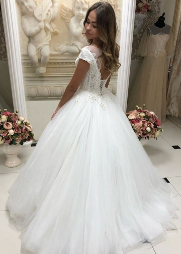 See-through Neckline Tulle Lace Wedding Dresses with Sleeves
