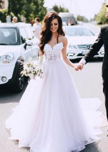 Sheer Lace and Tulle Sweetheart Wedding Dress with Thin Straps