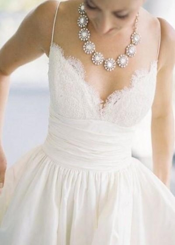 Sexy Lace Satin Bridal Gown Dress with Spaghetti Straps
