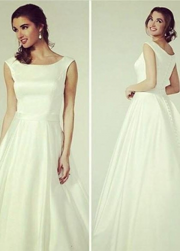 Simple and Sweet Satin Wedding Dress with Buttons Down