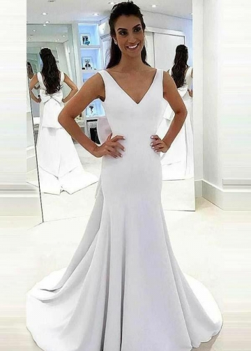 Simple White Satin Trumpet Wedding Dresses with Bow Ribbon