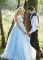 Strapless Sweetheart Light Baby Blue Wedding Dress Tulle Skirt