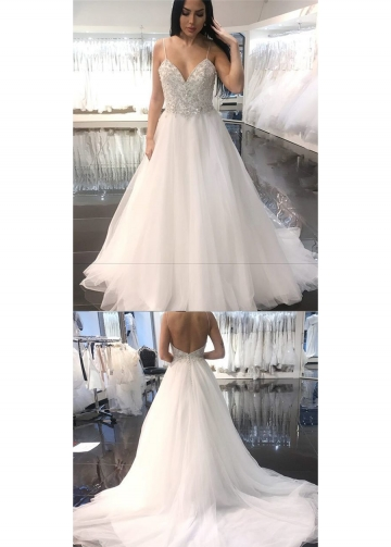 Sweetheart Crystals Beaded Wedding Dresses Spaghetti Straps