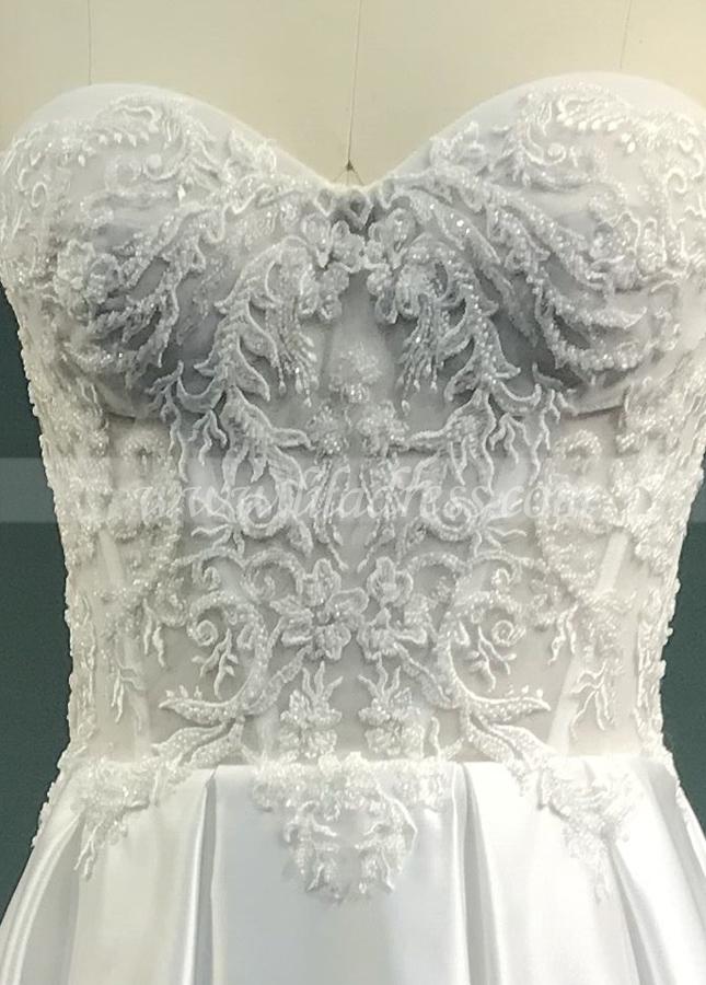 Sweetheart Sheer Lace Corset Wedding Dresses Satin Skirt