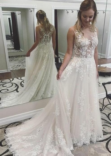 Sexy Illusion Wedding Gown with Floral Lace Bodice