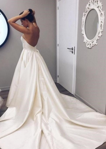 Strapless Satin Ivory Wedding Dresses Backless Chapel Train