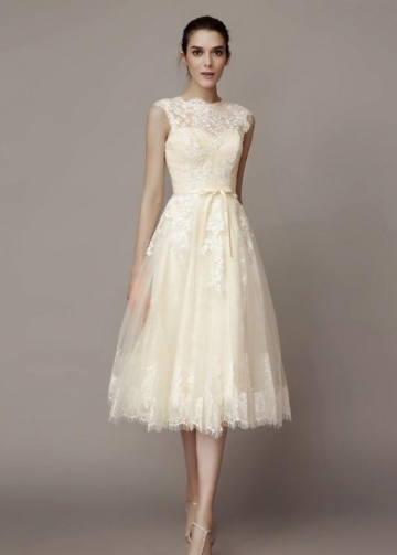 Sleeveless Lace Short Wedding Dresses with Belt Hochzeitskleid