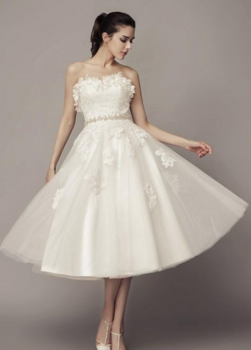 Strapless Causal Tea-length Wedding Dress with Tulle Skirt