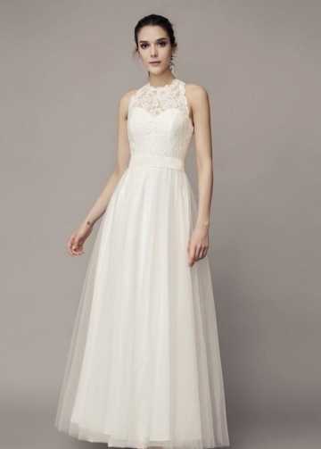 Sleeveless Lace Boho Wedding Gown with Tulle Skirt