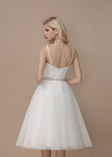 Simply Short Informal Wedding Dress Spaghetti Straps