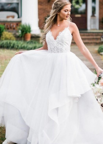 Spaghetti Straps Tulle Bride Dresses with Lace Bodice