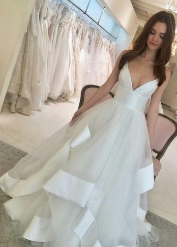 Satin Ribbon Tulle Wedding Gown with V-neckline