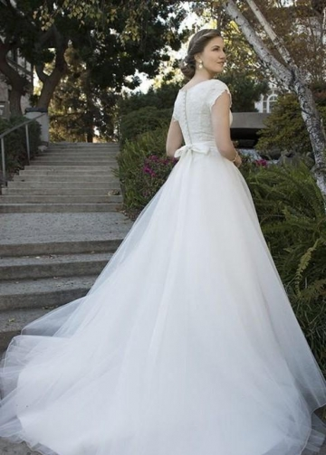 Scoop Neck Modest Wedding Gown with Lace Bodice