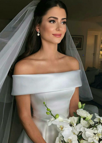 Simple Satin Bridal Dress with Fold Off-the-shoulder