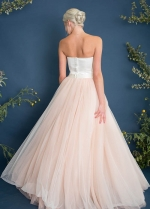 Sweetheart Satin Spring Bridal Gown with Blush Pink Tulle Skirt