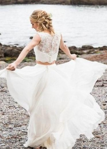 Summer Two Piece Wedding Dress with Lace Separates Top
