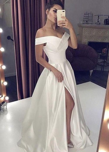 Satin Simple Wedding Gown Dress with Off-the-shoulder