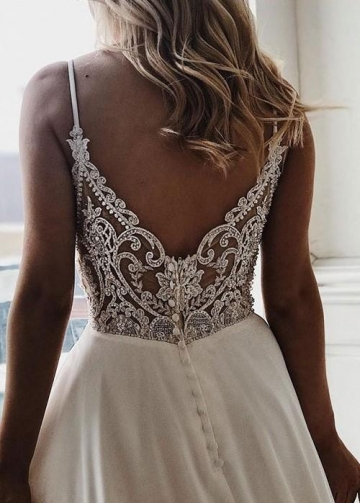 Spaghetti Straps Chiffon Bridal Dresses for Beach Weddings