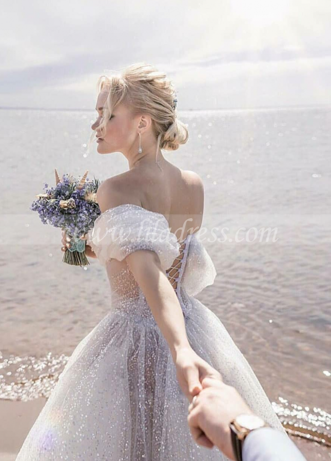 Sequin and Crystals Wedding Dresses Off-the-shoulder