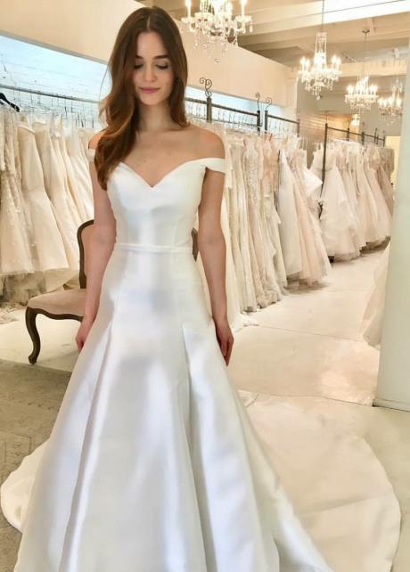 Simple Satin Bridal Dress Off-the-shoulder Vestido de casamento