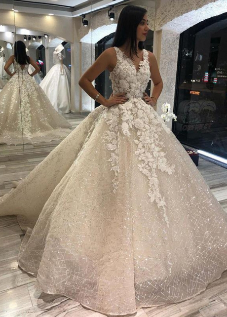 Sparkling Princess Wedding Gown with Lace Bodice