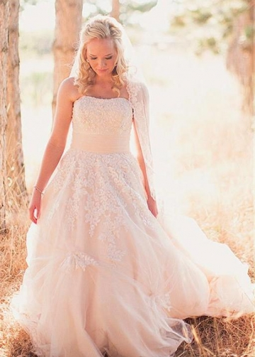 Strapless Lace Outdoor Wedding Gowns Tulle Skirt