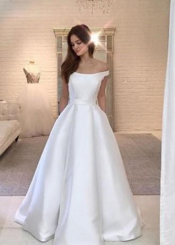 Simple Satin Bridal Dress Off-the-shoulder Vestido de noiva