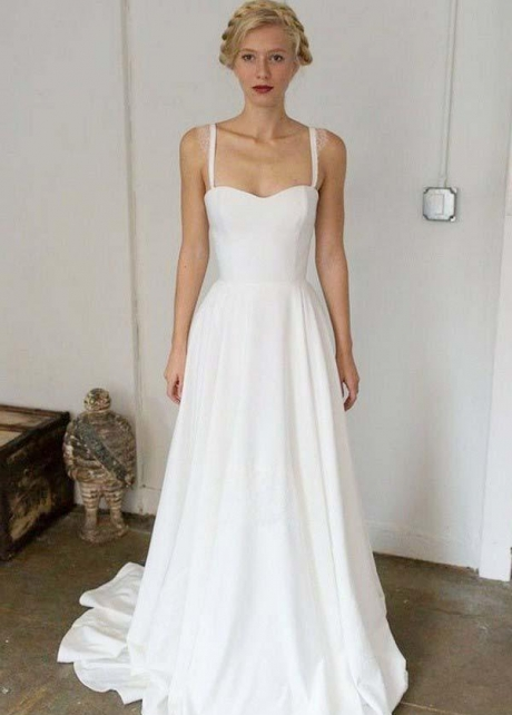 Satin Skirt Summer Wedding Dress with Double Straps