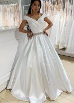 Structured Folds Off-the-shoulder Satin Bride Dresses Beaded Belt