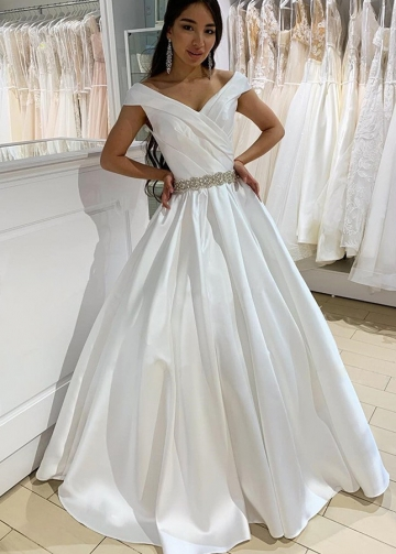 Structured Folds Off-the-shoulder Satin Bride Dresses Beaded Belt