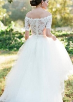 Scalloped Lace Off-the-shoulder Wedding Gown Dress with Tulle Skirt