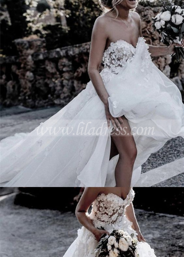 Sweetheart 3D Floral Wedding Dress Gown with Tulle Skirt