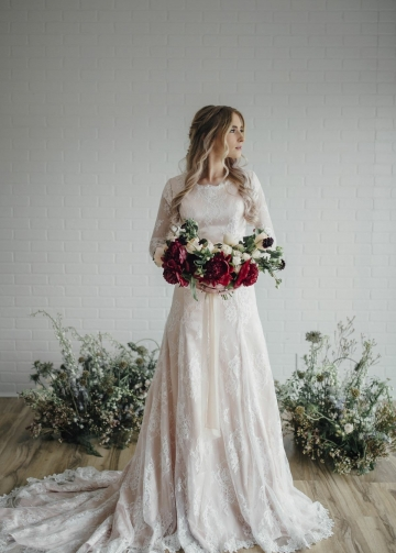 Sheer Long Sleeves Lace Modest Bride Dress Wedding