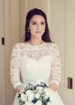 See-through Neckline Lace Ivory Wedding Dresses 3/4 Sleeves