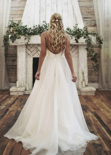 Simply Satin Backless Forest Themed Wedding Dresses with Organza Skirt
