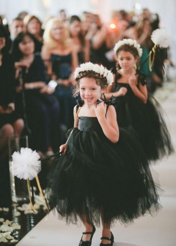 Thin Straps Tulle Baby Little Black Dresses Flower Girl Dress