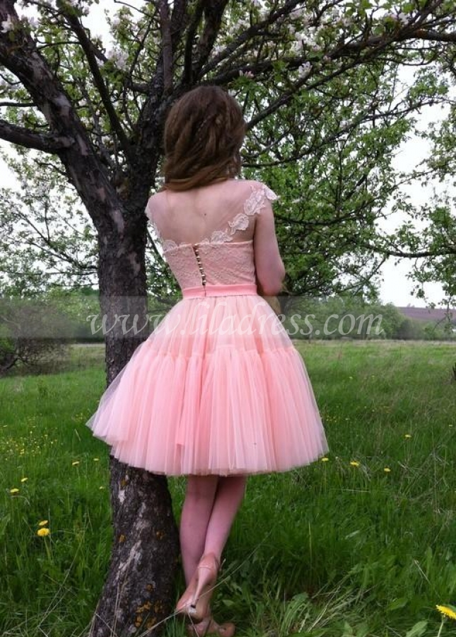 Transparent Neckline Blush Pink Homecoming Dress Lace Tulle Skirt