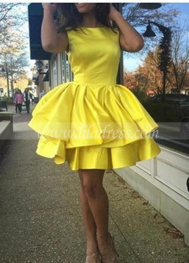 Tiered Skirt Yellow Homecoming Dresses Short Satin Gown