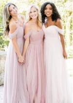 Tulle Blush Pink Bridesmaid Dresses Off-the-shoulder