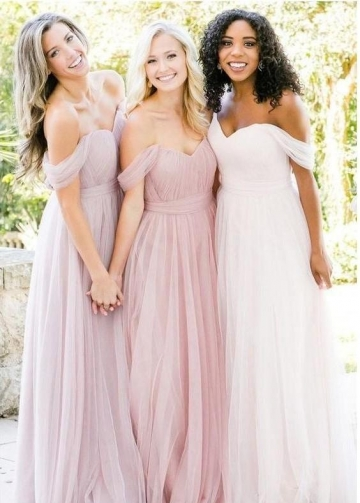 Tulle Blush Pink Bridesmaid Dresses Off-the-shoulder