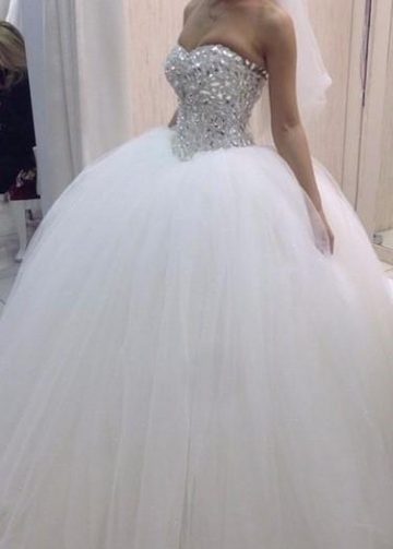 Tulle Skirt Rhinestones Wedding Dress Sweetheart Ball Gown