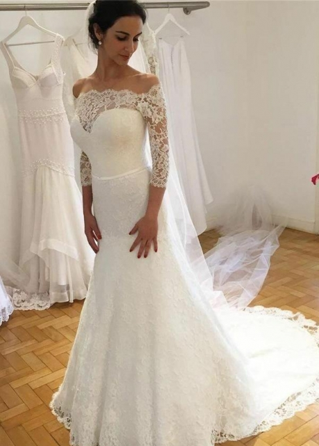 Traditional Off-the-shoulder Lace Wedding Dress with Sleeves