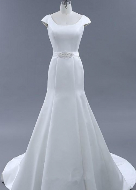 Trumpet Satin Wedding Dresses with Buttons Down the Back