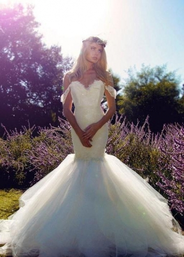 Tulle Skirt Mermaid Style Wedding Dress with Lace Off-the-shoulder Bodice